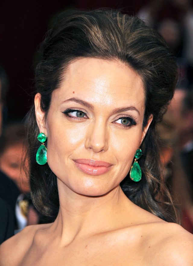 Angelina Jolie wearing pear-cut earrings