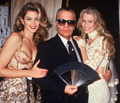 Claudia Schiffer with Karl Lagerfeld and Cindy Crawford