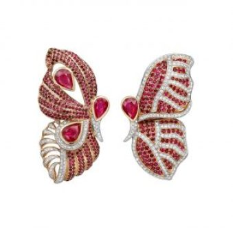 Fehmida Lakhany x Gemfields x WFG, Ruby encrusted Butterfly earrings