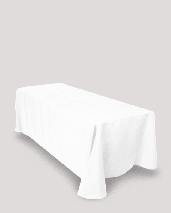8ft white tablecloth rental luxeeventrental.com