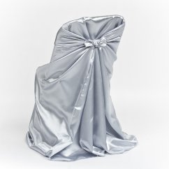 Universal Wedding Chair Covers Revolving Without Arms Grey Satin Folding Cover Luxe Event Rental