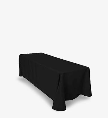 90 x 132 6ft black tablecloth rental luxeeventrental.com