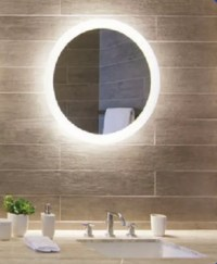 Backlit Round Bathroom Mirror with LED Light Border ...