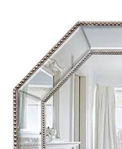 Silver Beaded Hex Mirror