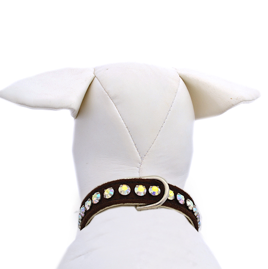 Ashley Ultrasuede Chocolate Dog Collar