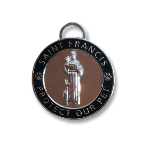 St Francis Pet ID Tag / Charm Small Black