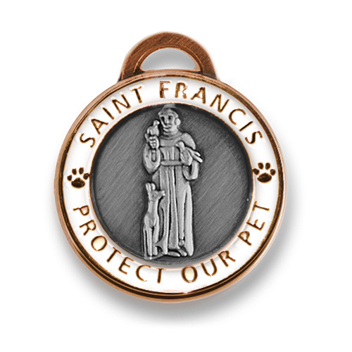 St Francis Charm Large Antique Copper and White
