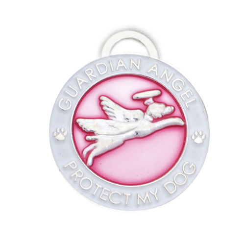 Guardian Angel Dog Charm Pink