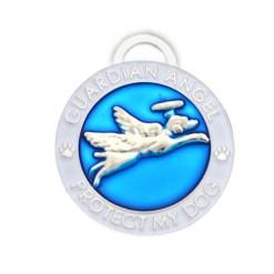 Guardian Angel Dog Pet Charm in Blue