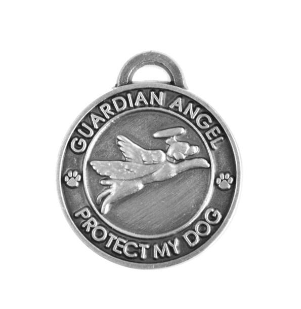 Guardian Angel Dog Antique Silver Pet Charm