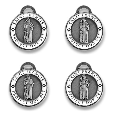 4 pack Antique Silver St Francis | White Enamel Holiday Bundle