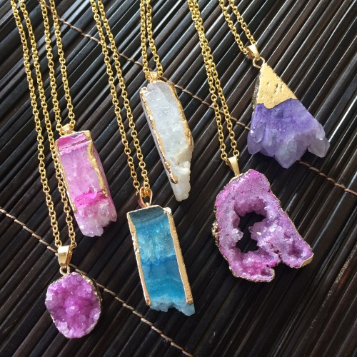 Druzy Quartz Crystal Pendants