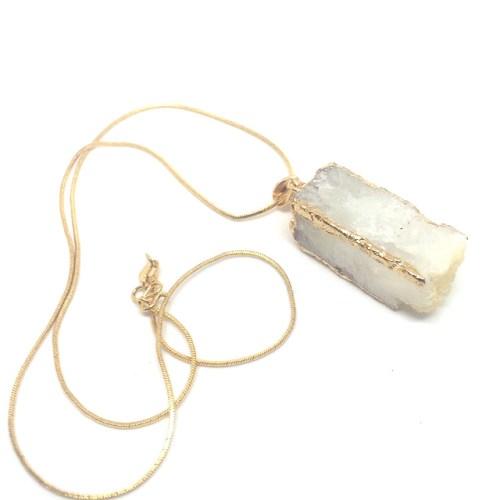 quartz healing crystal necklace