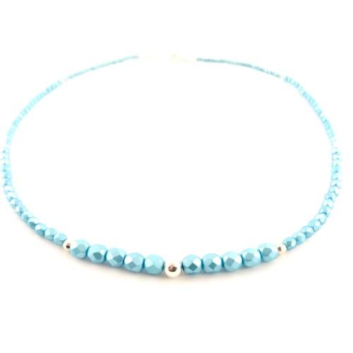 blue crystal sterling silver necklace set