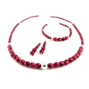 Fire polished crystal necklace earrings set onlinge gifts uk