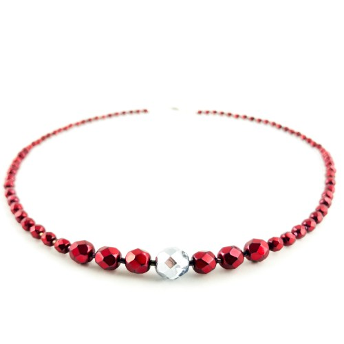 Czech fire polished necklace