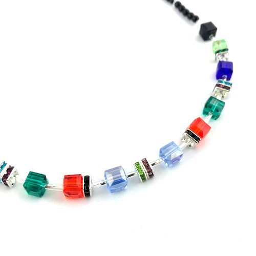 Multi-colour cube crystal necklace online uk