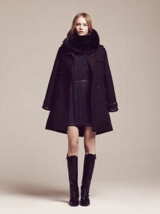 Aspen Cowl / Masters Black • Wool New-Classic Trench Coat / Midnight Holly Dress / Midnight-Masters Black • Thin Leather Belt / Dark Brown-Silver Equestrian High Boots / Midnight