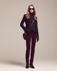 Women's Sunglasses / Tortoise • Kina Boston Blazer / Midnight-Multi Filly Stripe Roll-Neck Sweater / Midnight Heather-Chocolate Torte Quilted Gloves / Black • Lane Rome Pants / Madder Brown Martine Bag / Dijon-Zinfandel-Nine Iron • Penny Chelsea Boots I / Zinfandel