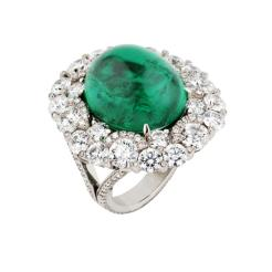 Emerald Cabochon Ring