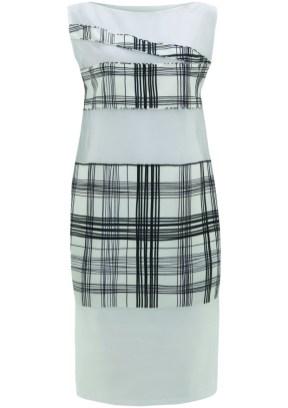 mesh & check print dress