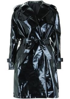 black patent rain coat