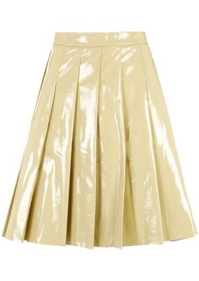 cream patent skirt