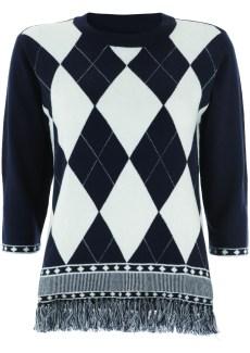 navy blue check tassle jumper