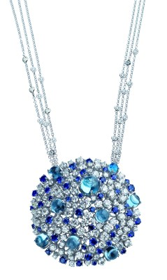 Damiani - Bouquet mastepiece - white gold pendant with diamonds, sapphires and topaz