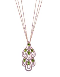 Damiani - Drip Drop masterpiece - pink gold pendant with sapphires and tsavorite 20055142