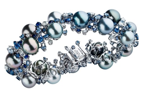 MIMOSA bracelet in white gold with Tahiti pearls, diamonds and sapphires