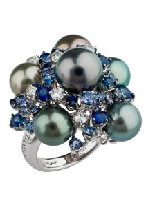 MIMOSA ring in white gold with Tahiti pearls, diamonds and sapphires