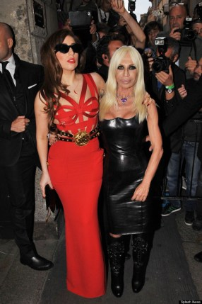 Lady Gaga and Donatella Versace seen out in Milan