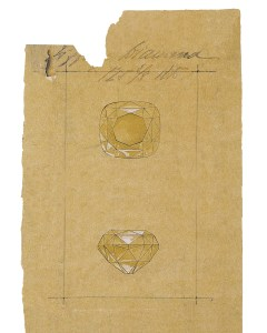 Drawing of the Tiffany Diamond from an 1886 ledger in the Tiffany Archives  Photo Credit: Courtesy of the Tiffany & Co. Archives For editorial use only.