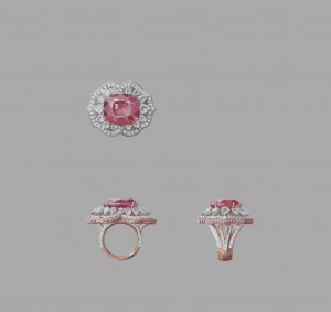 Or rose, diamants ronds, tailles poire et baguette, diamants roses, un saphir rose taille coussin de 28,96 carats (origine : Sri Lanka).