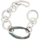 Gourmette, argent et anneau « organique » oxydé vert, 1200€