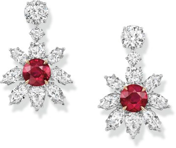 Ruby and Diamond Floral Earrings