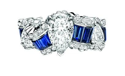 BAGUE GROS GRAIN SAPHIR JCAD93009 750/1000e or blanc, diamants et saphirs