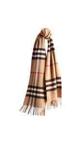 The Classic Cashmere Scarf in Check - Camel