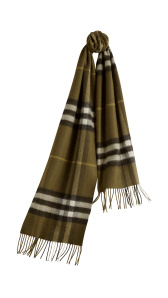 The Classic Cashmere Scarf in Check- Olive Green