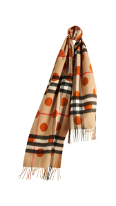 The Classic Cashmere Scarf in Check and Dots - Burnt Orange