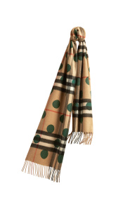 The Classic Cashmere Scarf in Check and Dots - Dark Forest Green