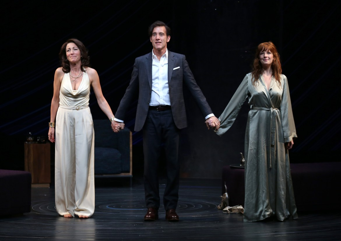 NEW YORK, NY - OCTOBER 06:  Eve Best, Clive Owen and Kelly Reilly during the Broadway Opening Night Performance Curtain Call for The Roundabout Theatre Company's revival of 'Old Times' at the American Airlines Theatre on October 6, 2015 in New York City.  (Photo by Walter McBride/WireImage)
