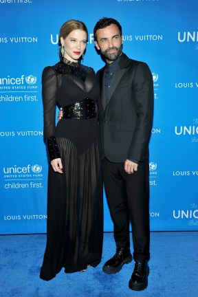 BEVERLY HILLS, CA - JANUARY 12: Actress Lea Seydoux (L), wearing Louis Vuitton, and Artistic Director for Women at Louis Vuitton, Nicolas Ghesquiere attend the Sixth Biennial UNICEF Ball Honoring David Beckham and C. L. Max Nikias presented by Louis Vuitton at Regent Beverly Wilshire Hotel on January 12, 2016 in Beverly Hills, California. (Photo by Donato Sardella/Getty Images for U.S. Fund for UNICEF)