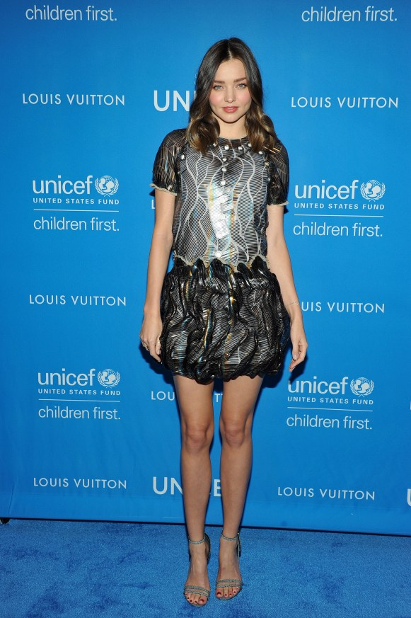 BEVERLY HILLS, CA - JANUARY 12: Actress Miranda Kerr, wearing Louis Vuitton, attends the Sixth Biennial UNICEF Ball Honoring David Beckham and C. L. Max Nikias presented by Louis Vuitton at Regent Beverly Wilshire Hotel on January 12, 2016 in Beverly Hills, California. (Photo by Donato Sardella/Getty Images for U.S. Fund for UNICEF)