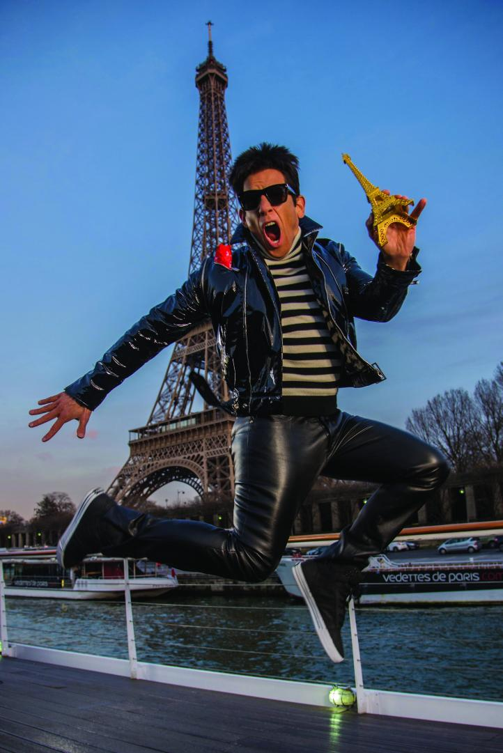 Derek Zoolander visits the Eiffel Tower in Paris to promote Zoolander No. 2 opening in theaters February 12th.