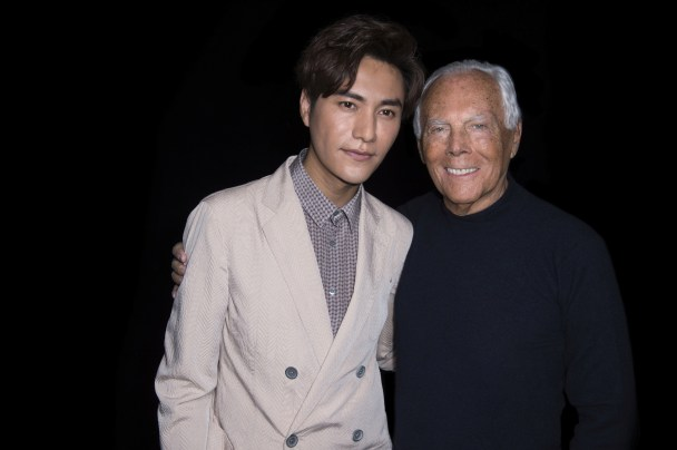 Giorgio Armani and Chen Kun at GAM FW1617 fashion show in Milan-SGP