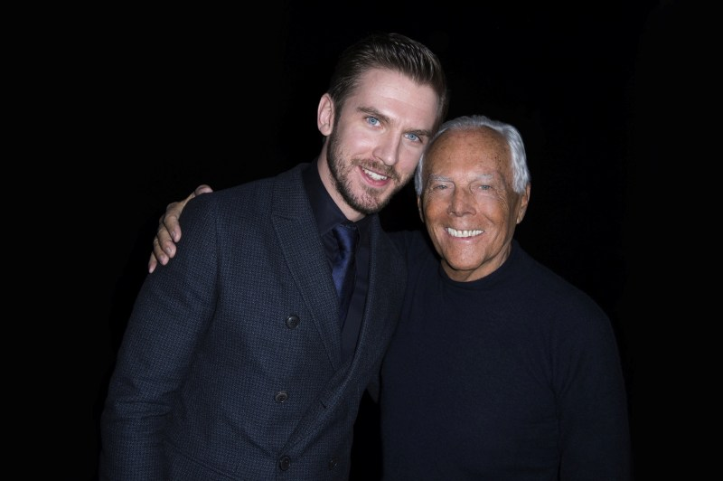 Giorgio Armani and Dan Stevens at GAM FW1617 fashion show in Milan - SGP