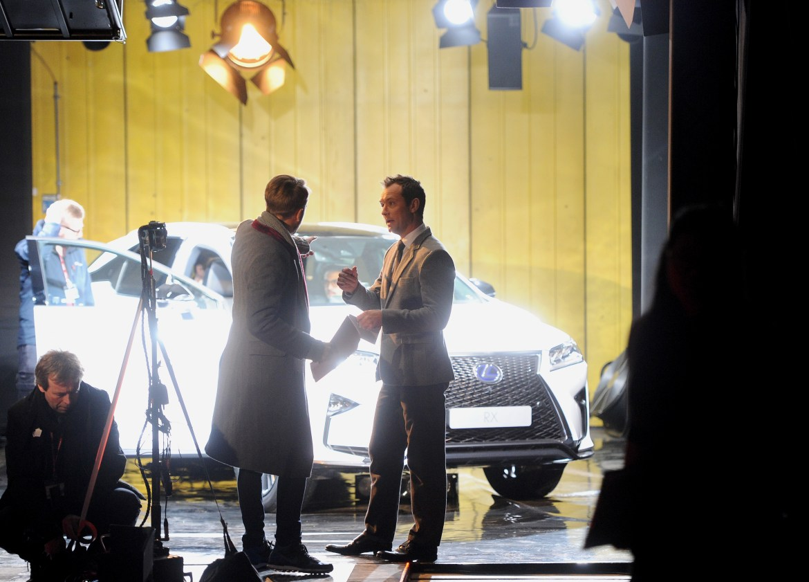 "LONDON, ENGLAND - FEBRUARY 09: Actor Jude Law stars in ""The Life RX"", a new immersive theatre experience and performance celebrating the launch of the boldly designed new Lexus RX on February 9, 2016 in London, England. (Photo by Stuart C. Wilson/Getty Images for Lexus) *** Local Caption *** Jude Law"