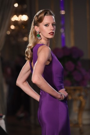 PARIS, FRANCE - JULY 05: A model walks the runway during the Bulgari Celebration of Magnificent Inspirations, The New High Jewellery Collection during Paris Haute Couture at the Italian Embassy on July 5, 2016 in Paris, France. (Photo by Venturelli/Getty Images for Bvlgari)